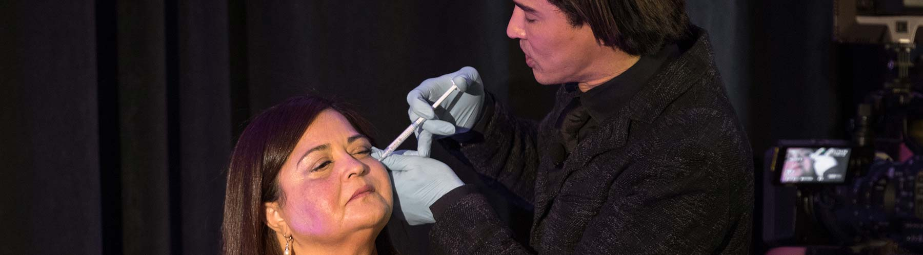 Dr. Shino Bay demonstrating an upper cheek injection using Radiesse