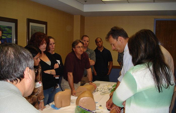 Dr. Radnovich instructing attendees on interventional pain management injections