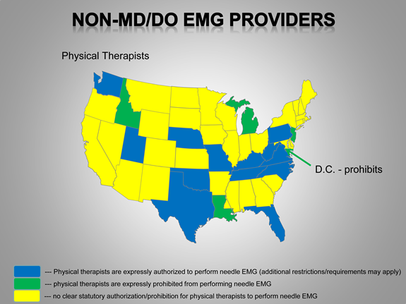 Chart of Non-Physician EMG Providers by Sepecialty